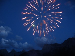 Fireworks in Canmore on Canada day. Sales are up 32% in the mountain town.
