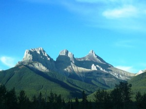 The iconic three sisters which overlook Canmore