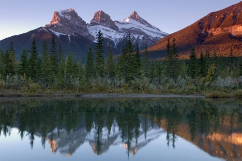 The iconic Three Sisters near Canmore, AB