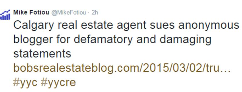 Defamation Bobs Real Estate Blog